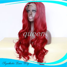 Wholesale Long Cheap Red Hair Wig - Synthetic Wig for Women Long Wavy Hair African American Wig Heat Resistant Cheap Fake Hair Wine Red Lace Front Wig