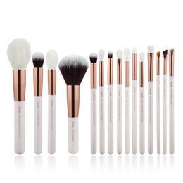Polvo de perla natural online-Jessup Pearl White Set de pinceles de maquillaje profesional Kit de herramientas de pincel de maquillaje Base en polvo Cabello sintético natural