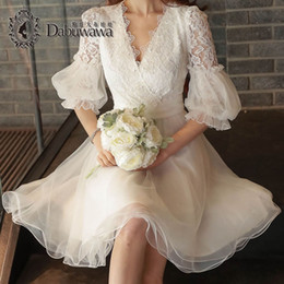 Wholesale Party Sexi Dress - Dabuwawa Sexy V-Neck White Lace Prom Party Dresses Sexi Female Fashion Casual Dresses Women Short Lace Dress Women Summer High