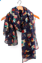 Wholesale Branches Scarves - Wholesale-2014 fall fashion women scarves animal printed owl scarf cute scarf owl with branch voile long shawl navy blue