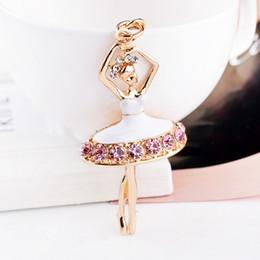 Wholesale Charms Carabiner - Bling Bling Rhinestone Ballet Girls Metal Keychain Keyring Car Keychains Purse Charms Handbag Pendant