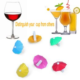 Wholesale Drink Clip Holder - Umbrella Shape Plate Clip Cocktail Spirits Drinks Garnishes Holder Tool Bar Accessoriess wholesale Set of 6PCS