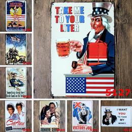 2019 rocce decorative all'ingrosso Zio Sam Metal Painting Targa in metallo Vintage Tin Plate Cafe Bar Pub Garage KTV Decorazione della parete Retrò Home Decor Art Poster Birra