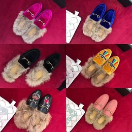 Wholesale Dress Shoes Slippers Women - 2017 aw fashion women genuin leather with real fur slipper with leather sole, women most high quality flats shoes original package