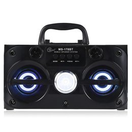 Wholesale Mobile Phone Horn - Eonec MS-178BT Multimedia Bluetooth Wireless Speaker Support LED Shinning Radio TF Card Play AUX 2 Horns Stereo Music Player