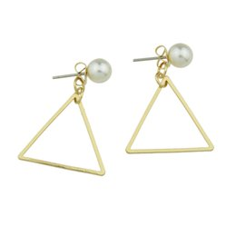 Wholesale Triangle Shape Earrings Studs - Jewelry Simulated Pearl Gold-Color Silver Color Stud Earrings With Square Shape Triangle Circular Shape For Women