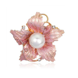 Wholesale Wedding Apparel China - 3pcs Fashion Women High Grade Alloy Pearl Rhinestone Flower Brooches Pin Gold Plated Painted Enamal Corsage Apparel Accessory