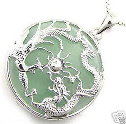 Wholesale China Green Jade Dragon - cunning silver dragon jewlery green jade dragon phoenix amulet pendant necklace