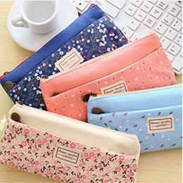 Wholesale Cosmetic Organizer Large Holder - Wholesale- 2017 Spring NEW Lovely Floral Flower Large Capacity Canvas Double Zipper Makeup Brush Bag Cosmetic Storage Holder Case Organizer