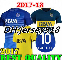 Wholesale P Red - 17 18 Boca Juniors Soccer Jerseys Thai quality 2017 2018 GAGO OSVALDO CARLITOS PEREZ P HOME Blue AWAY Yellow Football shirts