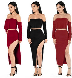 Wholesale Long High Waisted Dresses - 2017 New women clothes sets Maxi Bodycon Club Skirt Set And Crop Top Two-piece dress S-XL