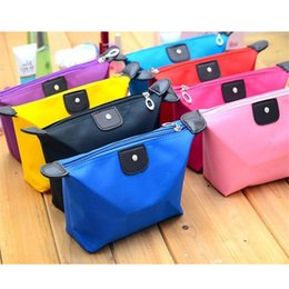 Wholesale Nylon Makeup Purse - candy color Travel Makeup Bags Women's Lady Cosmetic Bag Pouch Clutch Handbag Hanging Jewelry Casual Purse b1332