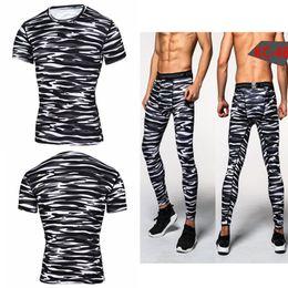 Wholesale Green Joggers Wholesale - Wholesale- Camouflage Mens Compression Sets Pants & Shirt Lycra Crossfit T-shirt Joggers Men Base Layer Casual Tops Leggings Brand Clothing