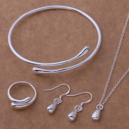 Wholesale Earings Sets - Hot Sale Water Drop Wedding Fashion 925 Silver Plated Jewelry Set Big Hand Chain Bracelet Necklace Ring Hook Oval Earings Eardrop