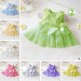 Wholesale Elegant Wholesale Clothing For Kids - Girls Dress Lace Kids Clothing Princess Dresses Gauze Infant Appliqued Bows Elegant Dress For Party Kids Sleeveless 12 Colors Best Gifts