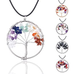 Wholesale Necklace Leather Energy - Natural Stone Gravel Beads Round Tree Of Life Winding Reiki Pendulum Pendant Charms Energy Health Amulet Numen Leather Necklace