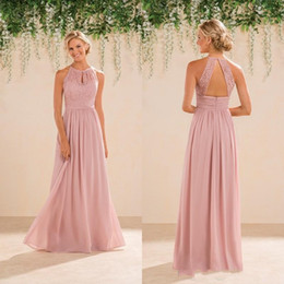 Wholesale Halter Blush Prom - Cheap Jasmine Bridal Blush Pink Bridesmaid Dresses Country Style Halter Neck Lace Chiffon Full Length Formal Prom Party Gowns Custom Made