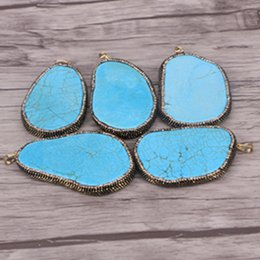 Wholesale large blue crystal pendant - 5pcs Large size Blue Turquoise Pendant Pave Crystal and Metal Foil Gemstone Pendant Beads For Necklace Making Jewelry