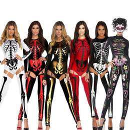 Wholesale Scary Skeleton - Halloween Party Costumes Scary Devil Ghost Cosplay big Children Women Skull Skeleton Prints Leotard Catsuit Costume free shipping