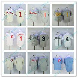 Wholesale Cream Philadelphia - Philadelphia Phillies Throwback Jerseys 1 Richie Ashburn 3 Chuck Klein 4 Jimmie Foxx Jersey Grey Cream White