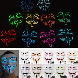 Wholesale costume guys - V Shape Party Cosplay Masks Led Light Vendetta Guy Volto Fancy Adult Masquerade Bar Stage Mask Halloween Easter Costume Accessory HH7-111