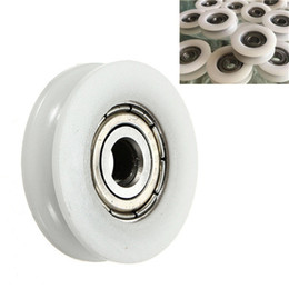 Wholesale Roller Bearing Wheels - 5x24x7mm U Groove Nylon Round Pulley Wheel Roller For 3.8mm Rope Ball Bearing
