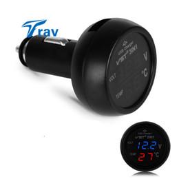 Wholesale Digital Voltmeter Cigarette Lighter - Wholesale- VST 3in1 Digital Voltmeter Thermometer 12 24V Cigarette Lighter USB Car Charger  Blue