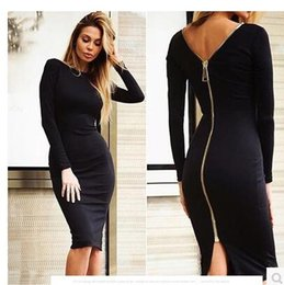 Wholesale Womens Long Cocktail Dresses - Plus size 2017 New womens dress sexy women cocktail pencil dress Black long sleeve Cultivate one's morality zipper dress
