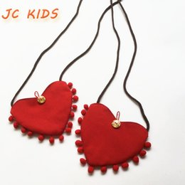 Wholesale Coin Purse Balls - Wholesale- JC KIDS 10pcs lot Baby Girls Mini Heart Shap Canvas Bag Kids Lovely Heart Message Bag With Small Balls Children Small Coin Purse