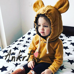 Wholesale Childrens Boy Coats - Ins Boys and Girls Cotton Cartoon Outwear Babies Fashion Casual Coats 2017 Childrens Autumn Cute Tops baby clothes