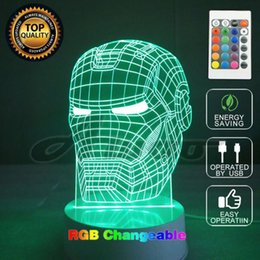 Wholesale Mask Shapes - 3D Illusion Led Table Lamp USB Touch Magical Illusion Night Light Iron Man Mask Shape LED Table Lamp Home Lighting