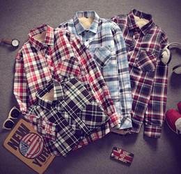 Wholesale Thick Warm Long Sleeve Shirts - Men Winter Shirt Fashion Quality British Style Warm Cotton Fleece Lined Thick Long Sleeve Casual Shirt Men Plaid Shirts