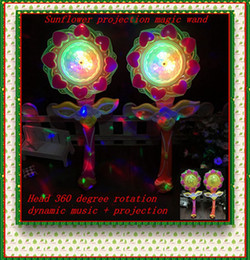 Wholesale Led Flash Windmill - Wholesale LED Sunflower Power Projection Magic Wand Large Music Windmill Dancing Lamp Flashing Stick Children Puzzle Toy