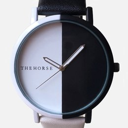 Wholesale Cheap White Leather Belts - Classic fashion simple black and white stitching students watch the customizable simple all-match cheap watch lovers