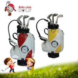 Wholesale Golf Bag Pen - Wholesale- Original Mini Golf Trolley Golf Bag with Cart Desk Top Pen and Pencil Holder Gifts Golf Clubs Shape