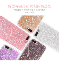 Wholesale Plaid Iphone Case - Ling Plaid Electroplate Plating Glitter Crystal Gilded Bling TPU Silicone Soft Back Case Cover Case Skin For iPhone 7 Plus 6 6S 5 5S 50PCS