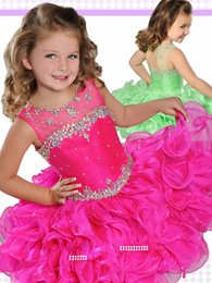 Wholesale 11 Year Old Pageant Dresses - Beautiful Princess Kids Pageant Dresses 2017 Crystal Ruffles Short Cupcake Pageant Gowns Girls Birthday Gown for 7 Years Old Graduation Gown
