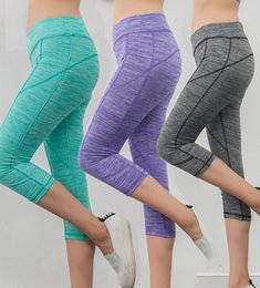Wholesale High Knee Exercise - 2017 Candy Colors Sport Yoga Pants Workout Running Exercise High Waist Elastic Quick Dry Casual Fitness Leggings 5 Colors women's clothings