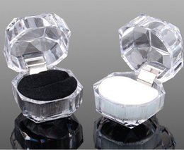 Wholesale Jewellery Boxes Packaging Velvet - Cut Facet Velvet Clear Acrylic Jewelry Black velvet Ring box jewlery gift packing box fashion jewellery package tool,+free shipping