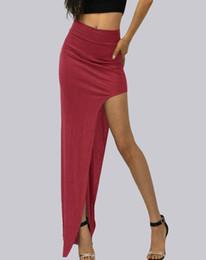 Encanto Faldas Larga Las Falda Maxi La Moda Tenedor Abrir Atractivas Split Alta Cintura Lado Señora Caqui Rojo Verano Fresco Mujeres Negro De IzrS1z