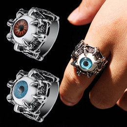 Wholesale Dragon Claw Ring Jewelry - 2016 New Men Punk Retro Dragon Eye Claw Evil Eye Skull Biker Ring Titanium Steel Jewelry 4RT