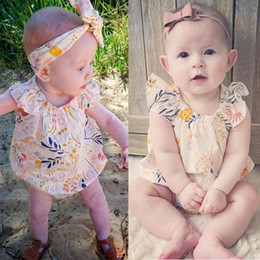 Wholesale Cute Jumpsuits - 2017 Cute Newborn Kids Baby Girl clothes Floral Flare Short Sleeve Romper infant toddlers children Jumpsuit Sunsuit Outfits 0-18M