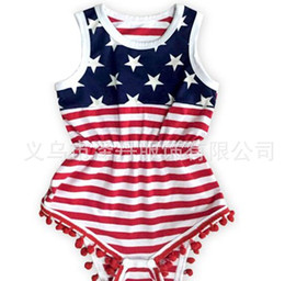 Wholesale Clothes Baby Girl Usa - 2017 summer 4th of july independence day toddler girl rompers tassel baby fourth of july american flag usa jumpsuit infant boutique clothing