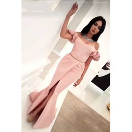 Wholesale summer long shirt simple designs - Dubai Kafea 2018 Simple Design Off the Shoulder Mermaid Prom Dresses Short Sleeve Pleated Side Slit Evening Party Formal Gowns