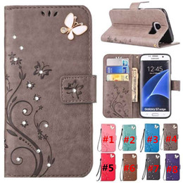 Wholesale Mobile Phone Holster Leather - Luxury Bling Diamond Embossed Painted Pattern Flip PU Leather Cover Holster Card Holder Stand Wallet with Lanyared Shockproof Mobile Phone B