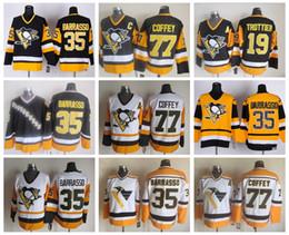 Wholesale Coffey Jersey - Men Throwback 35 Tom Barrasso Jersey Pittsburgh Penguins 77 Paul Coffey 19 Bryan Trottier Ice Hockey Vintage CCM Stitched Logo Quality