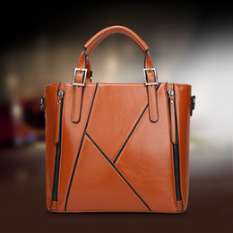 Wholesale Spring Summer Totes - Women leather handbags women bag the new spring and summer bags manufacturers wax leather fashion bags Handbag