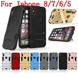 Wholesale Iron Man Iphone Casing Wholesale - Iron Man Cover for Iphone X 8 7 7Plus 6 6S Plus 5 5S SE 5C Hybrid Shock Proof Hard Kickstand Armour Heavy Rubber stand CASE
