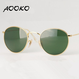 Wholesale Round Sun - AOOKO Hot Sale Brand Vintage sunglasses Oculos De Sol Feminino Retro Round Metal Eyeware glass lens Urban Outfitters Sun Glasses 50mm
