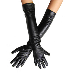 Wholesale Cosplay Faux Leather - Women's Faux Leather Long Gloves Ultra Long Belt Long Design Fashion Women's Leather Gloves Women 50cm Free Shipping